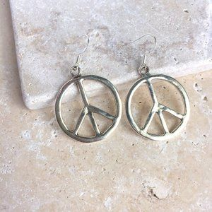 Large Silver Peace Sign Earrings